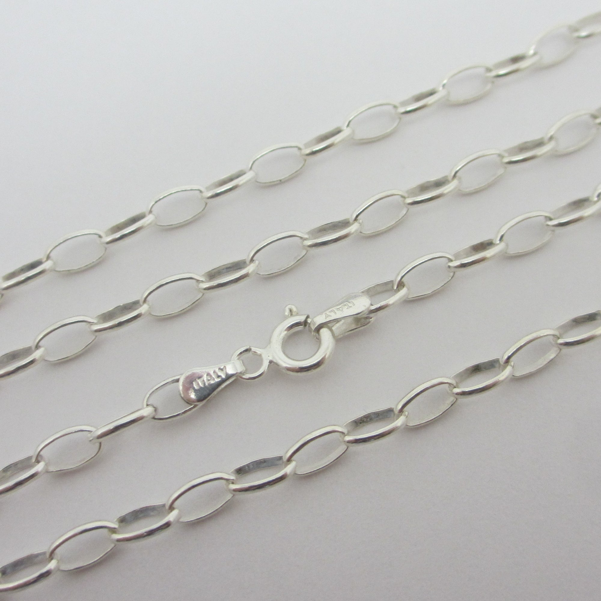 "Cable Link Sterling Silver Chain Necklace 55.0cm / 21.6"" Vintage c1980"