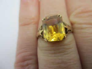 Citrine in 9k Gold Ring Vintage English 1991