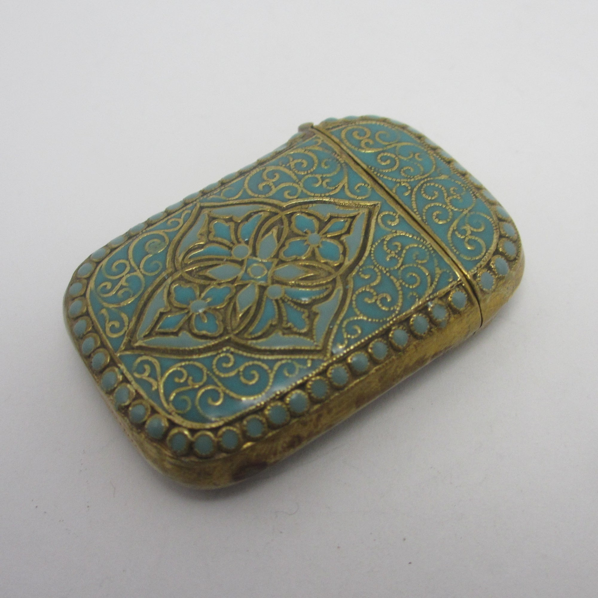 Baby Blue Enamel on Brass David Andersen Style Vesta Case Vintage c1940