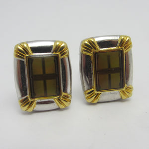 Enamel Cross Chrome Metal Cufflinks Vintage c1980.
