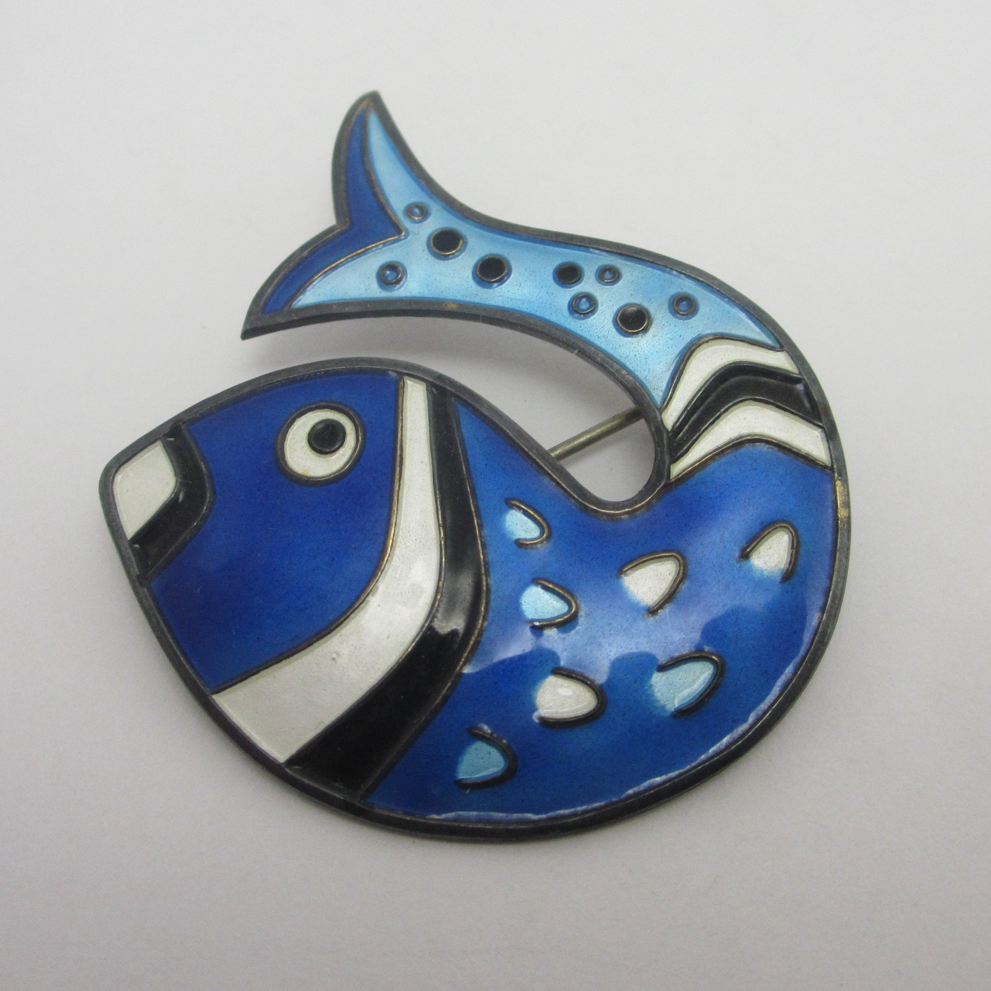 Norwegian Enamel Whale or Fish Sterling Silver Brooch Pin by David Andersen Vintage c1950