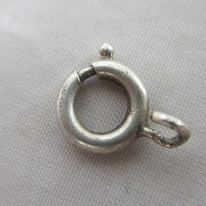 Sterling Silver Bolt Ring Clasp Findings 0.9cm Diameter Vintage Art Deco c1920.