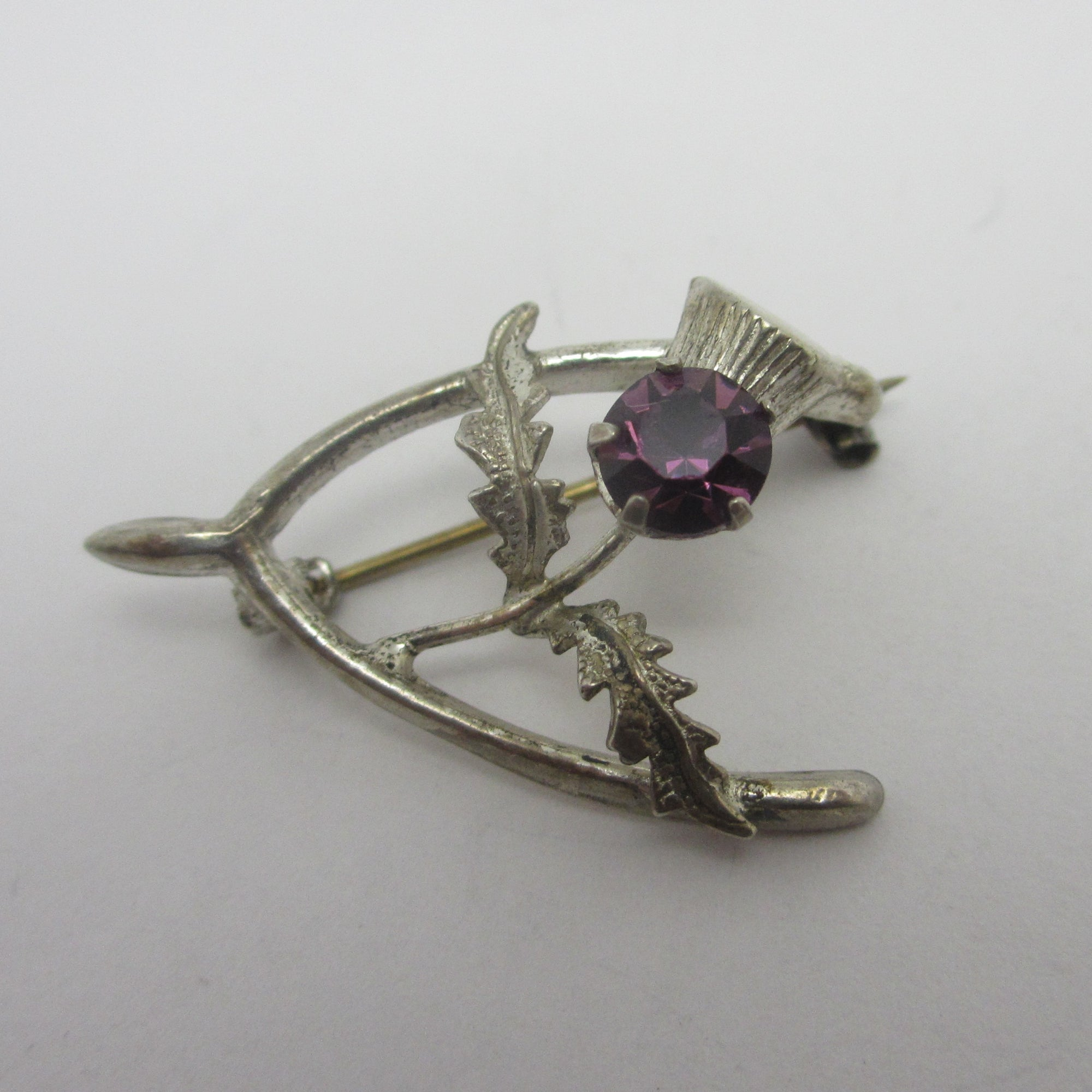 Scottish Thistle Lucky Wishbone Sterling Silver Brooch Pin Vintage c1950