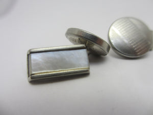 Mother of Pearl in White Metal Cufflinks Vintage c1950
