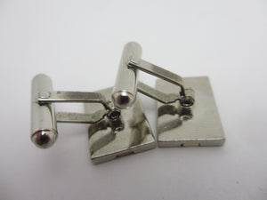 Sapphire Paste in Chrome Metal Cufflinks Vintage c1980.