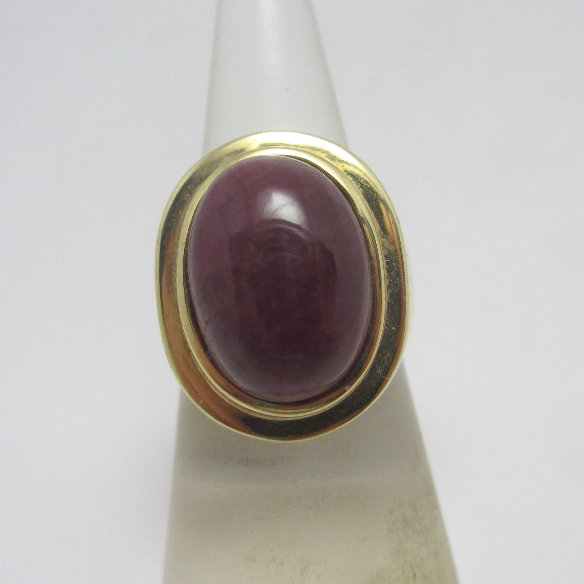 Large Cabochon Ruby Sterling Silver Gilt Ring Vintage c1980