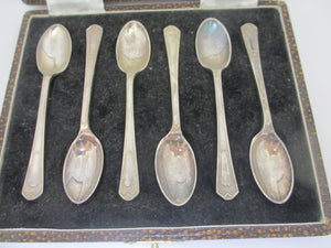 Boxed set of 6 Silver Plate Walker & Hall Spoons Vintage Art Deco c1920.