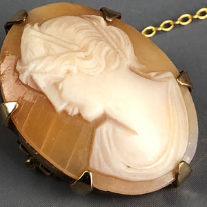 Real Shell Lady Cameo 9k Gold Brooch Pin Vintage English 1973