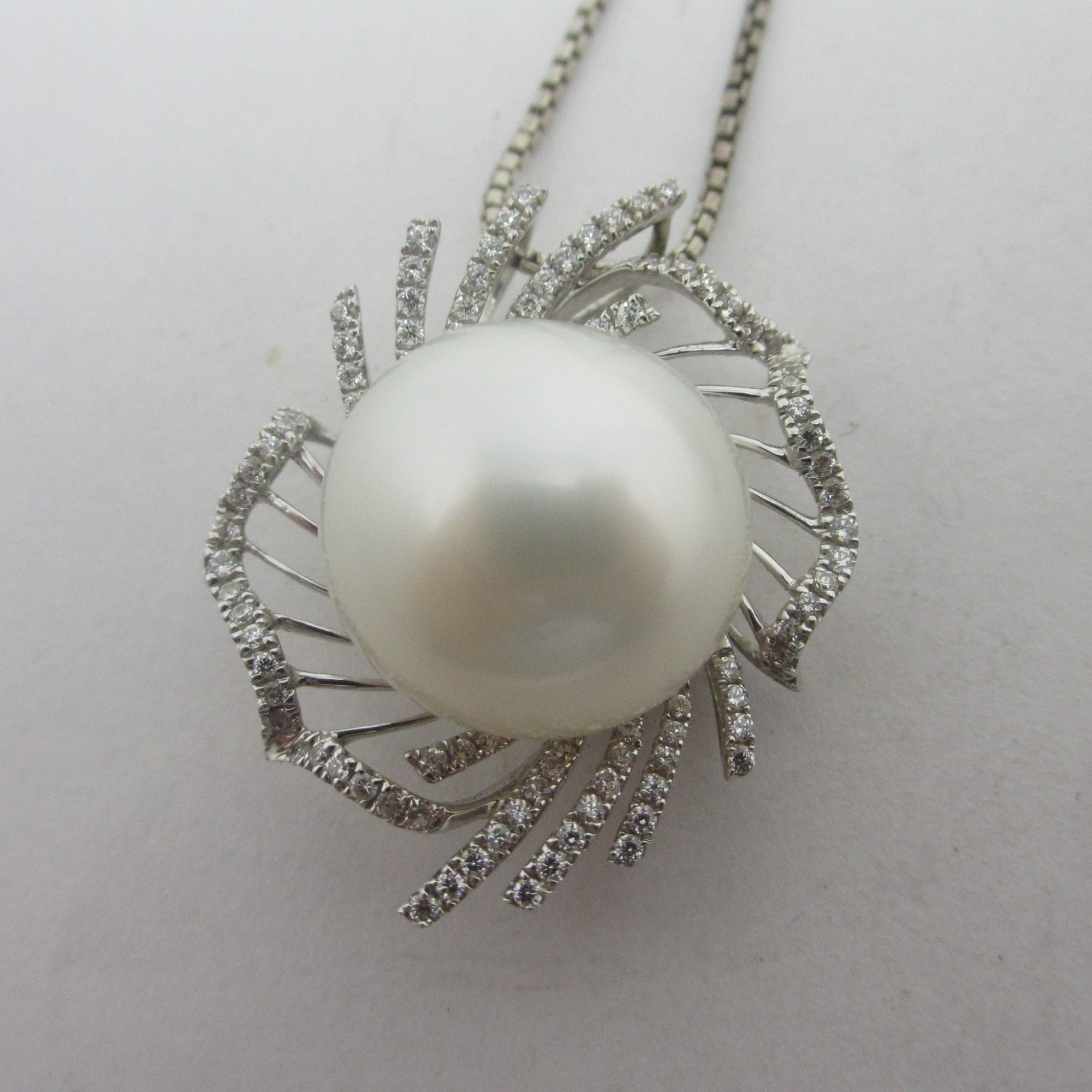 Large South Sea Pearl Diamond 14k White Gold Pendant Necklace Vintage c1980