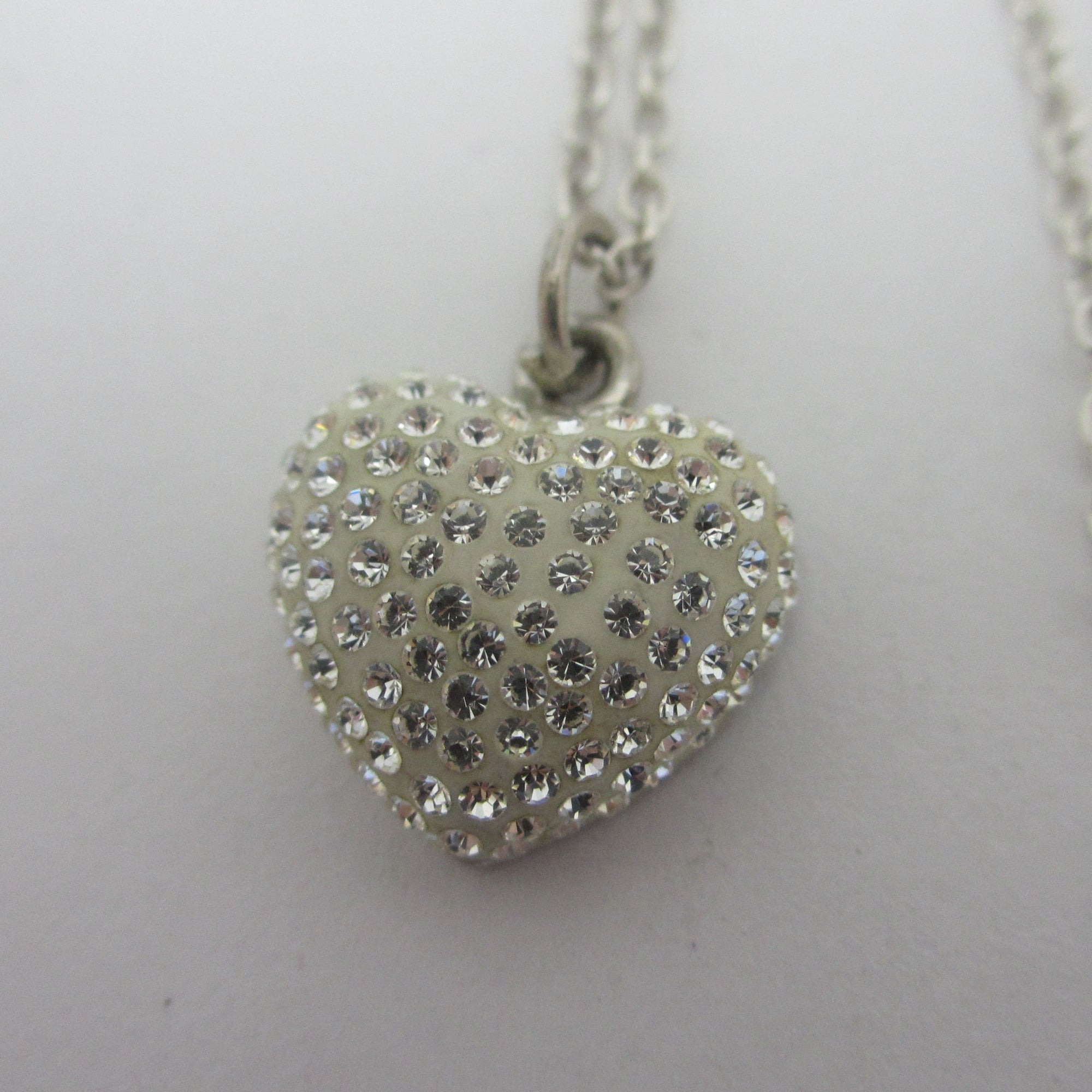 Sparkly Heart Pendant Sterling Silver Chain Necklace Vintage c1980