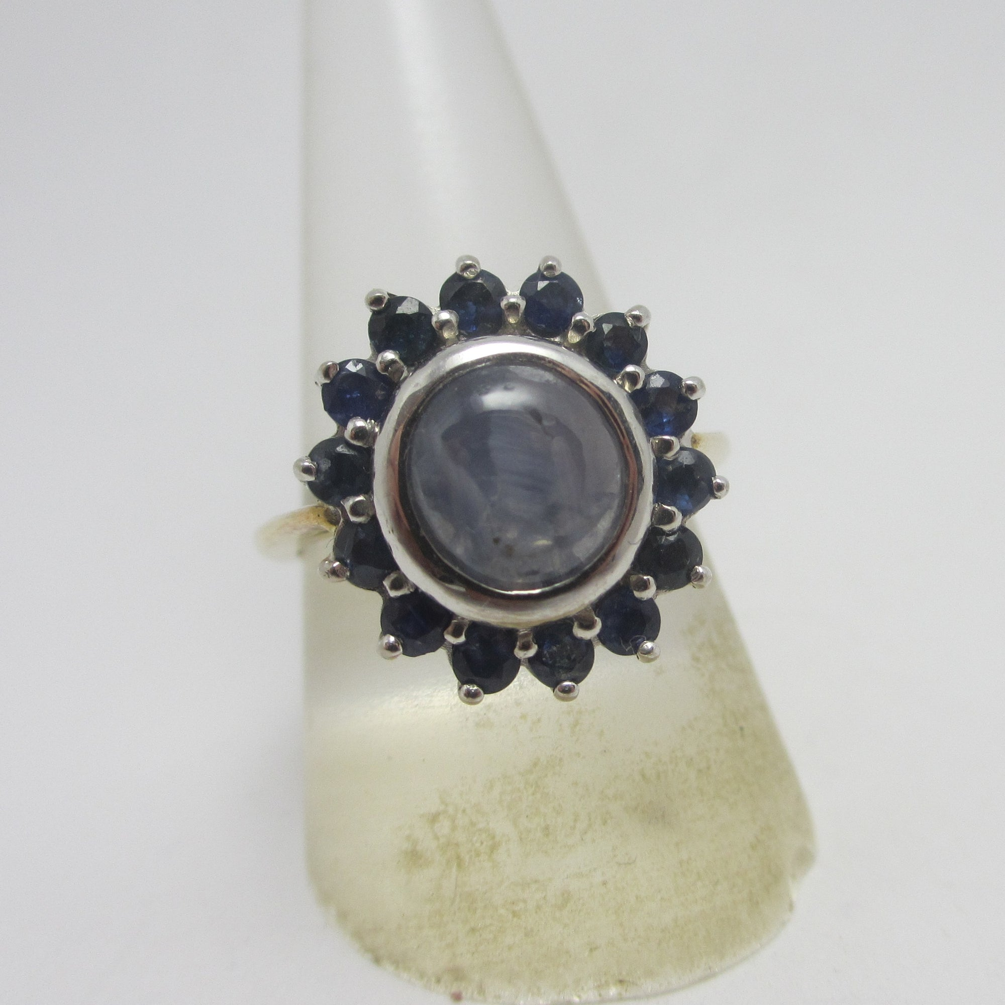 Star Sapphire in 14k Gold Cluster Ring Vintage c1980