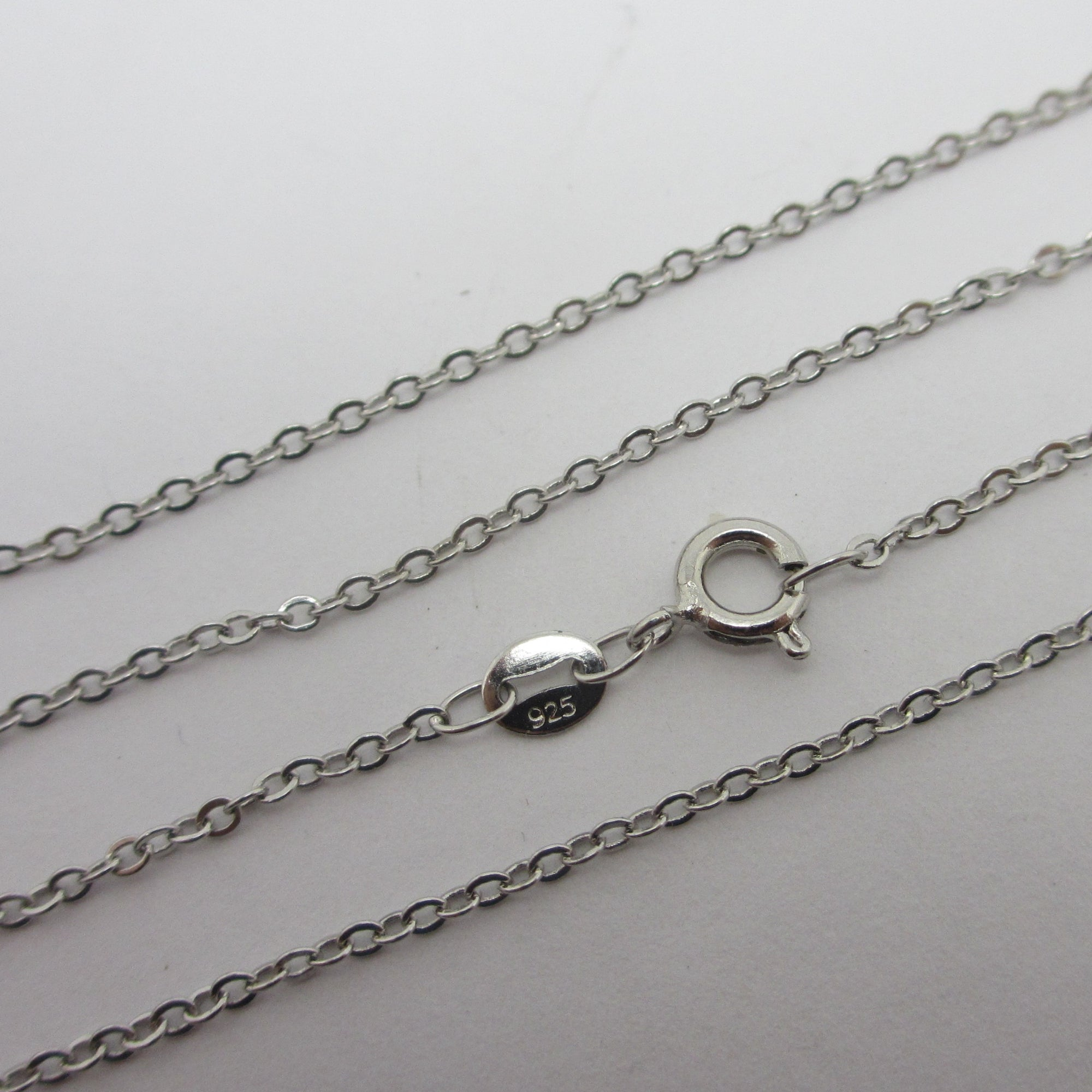 "Cable Link Sterling Silver Chain Necklace 45.3cm / 17.8"" Vintage c1980"
