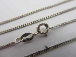 "Sterling Silver Curb Chain Necklace 40.2cm / 15.8"" Vintage c1980."