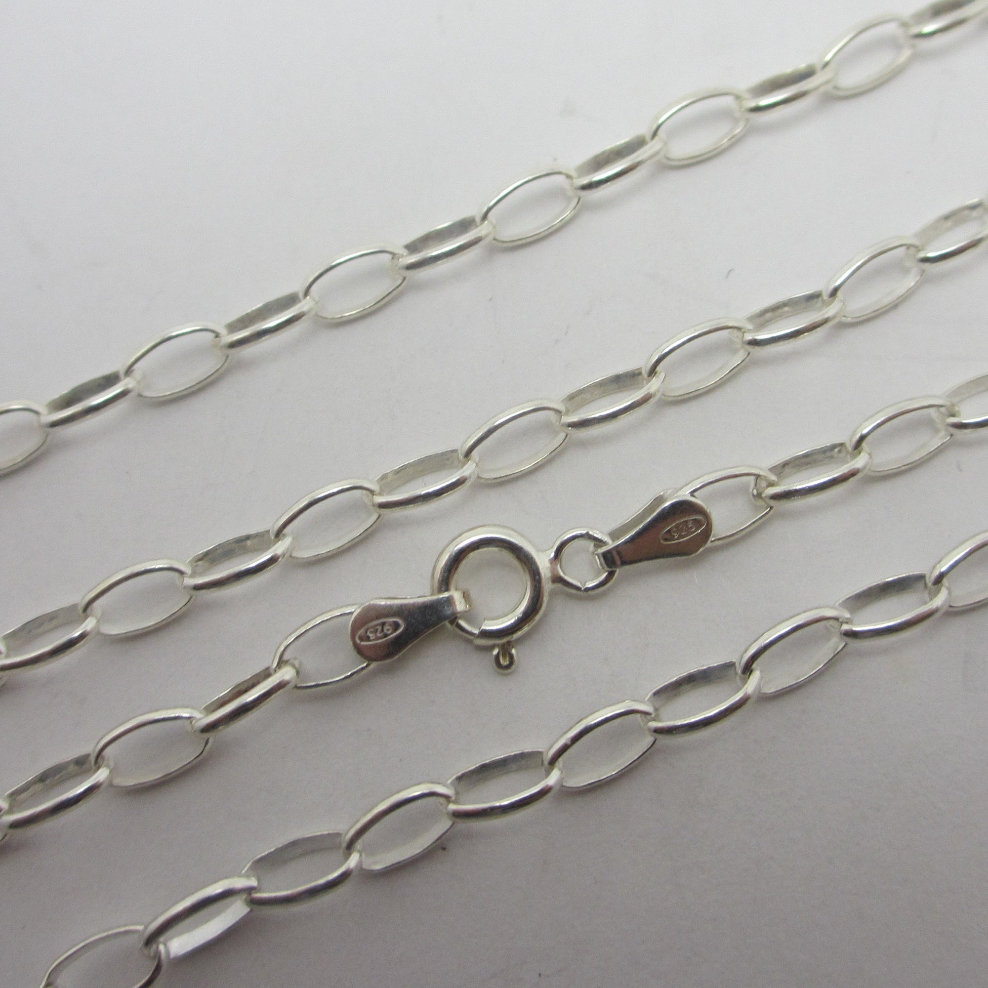 "Cable Link Sterling Silver Chain Necklace 55.5 cm / 21.8"" Vintage c1980"