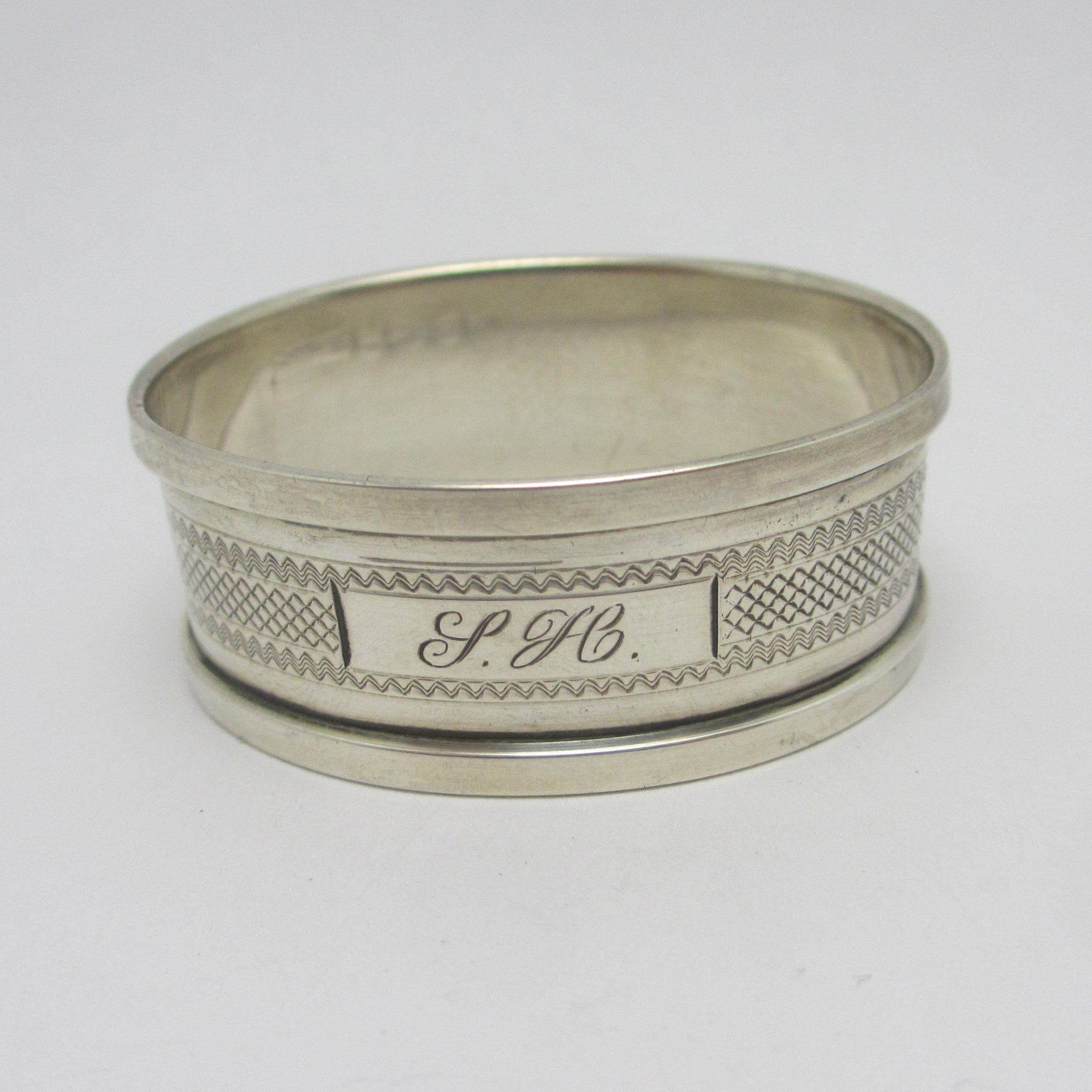 Inscribed Napkin Ring Sterling Silver Vintage Art Deco 1934 English