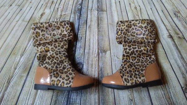 Girl Leopard Boot(Camel and light brown)