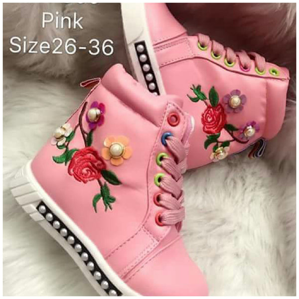 Girl Pink Rose Boots