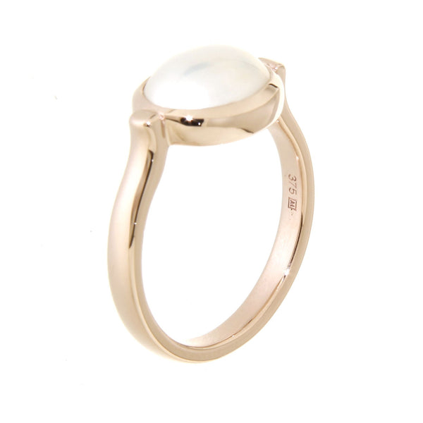 9ct rose gold oval mabe pearl bezel set ring
