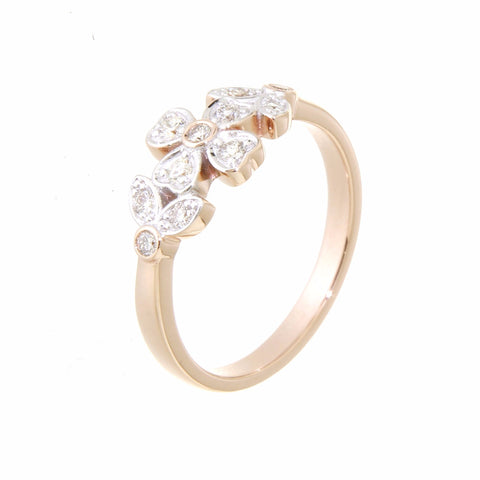 9ct rose gold leaf design bezel & grain set diamond ring.