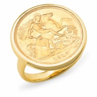 9ct yellow gold 1912 half sovereign ring