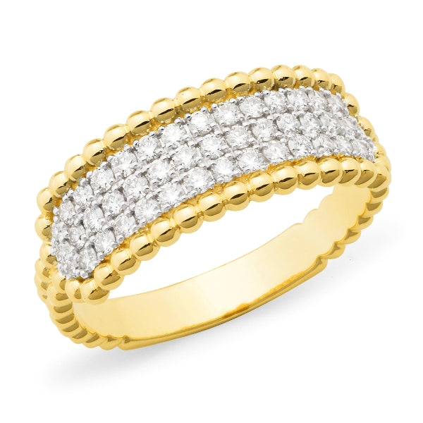 9ct yellow gold diamond set ring