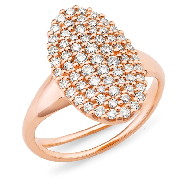 9ct rose gold diamond set oval cluster ring