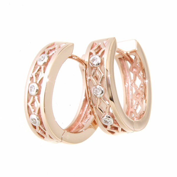 9ct rose gold patterned huggies with Diamonds
