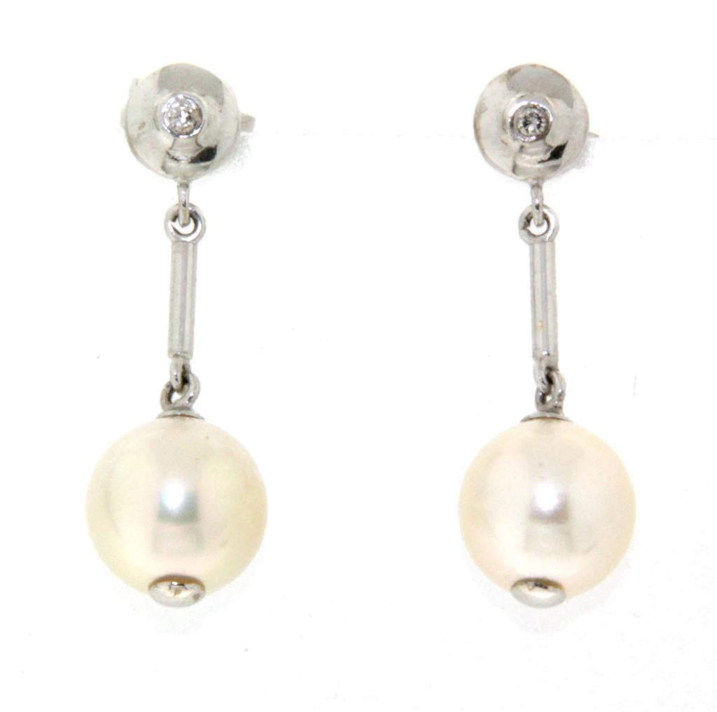 White Gold pearl & diamond drop studs