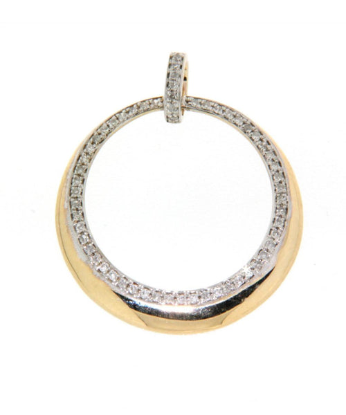 9ct yellow gold diamond eclipse pendant