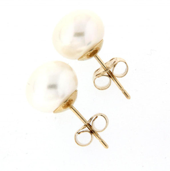 9ct white gold pearl studs