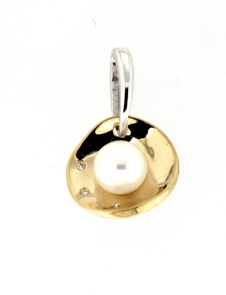 9ct yellow & white gold pearl & diamond wavey disc pendant