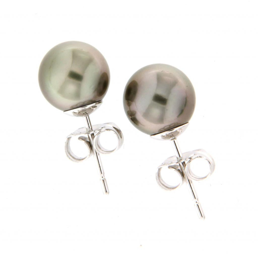 9ct white gold Tahitian pearl studs