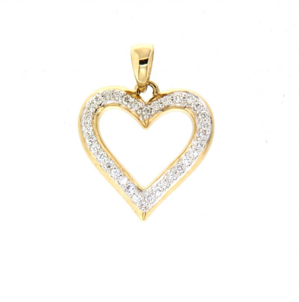 9ct yellow gold diamond open heart pendant