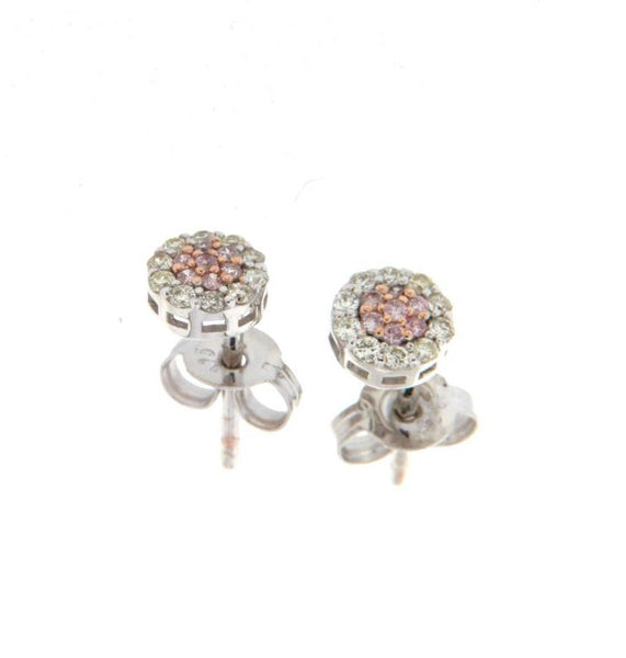 9ct rose gold pink & white diamond cluster studs
