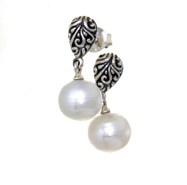 Sterling silver pearl drop carved stud earrings