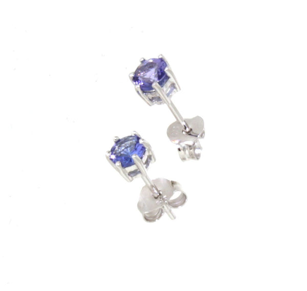 9ct White Gold 6 Claw Set Tanzanite Stud Earrings