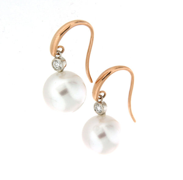 18ct rose gold South Sea pearl & diamond drop hook earrings
