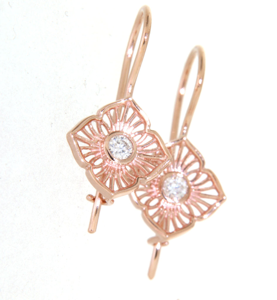 9ct rose gold diamond 4 leaf filigree shepherd hook earrings