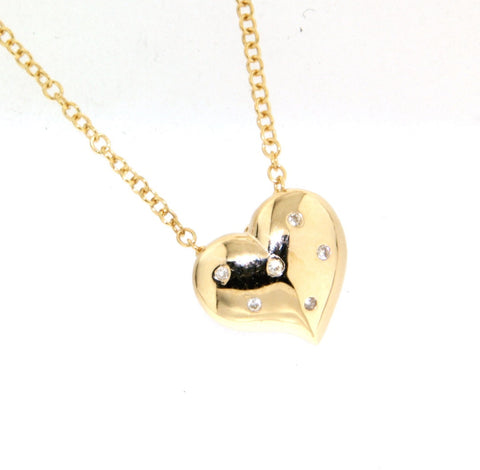9ct yellow gold hammer set heart pendant slider on cable chain