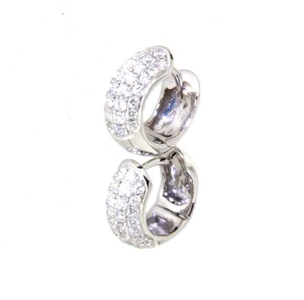 18ct white gold pave diamond set huggies