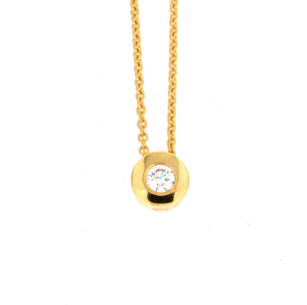 9ct yellow gold cable with bezel set slider diamond pendant