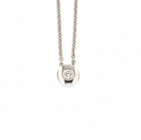 9ct white gold cable with bezel set slider diamond pendant
