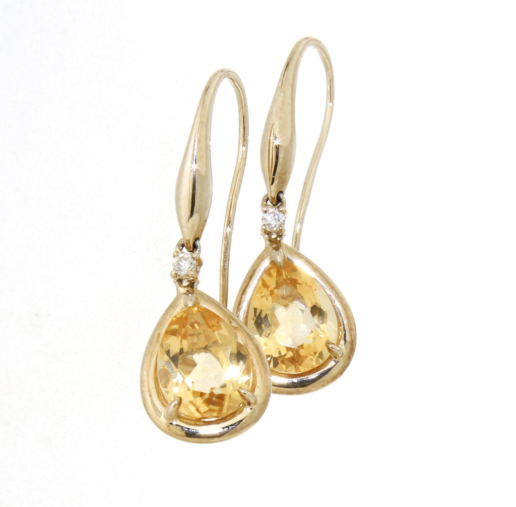 9ct Yellow Gold Tear Drop Citrine & Diamond Drop Hook Earrings