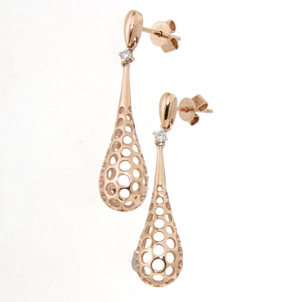 9ct Rose Gold Teardrop Honeycomb Cut Out Stud Earrings with Diamond Tops
