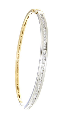 18ct Yellow & White Gold Channel Set Diamond Bangle Hinge & 2 Safety Catches