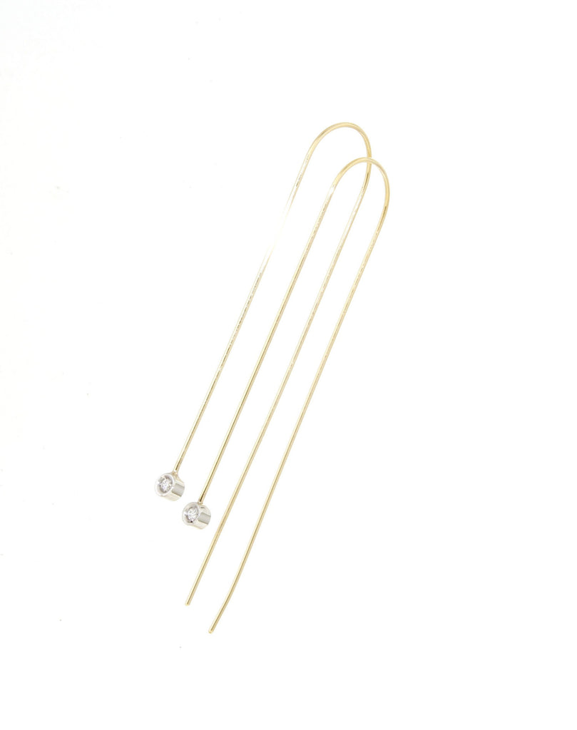 9ct Yellow Gold Long Wire Hook Earrings w/ White Gold Bezel Set Diamonds