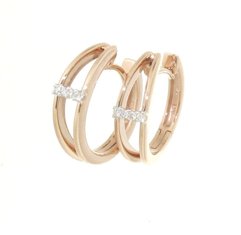 9ct rose gold split front diamond huggies