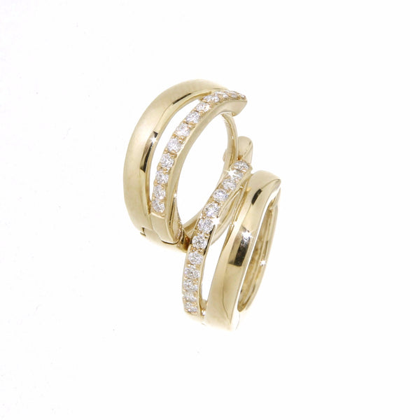 9ct yellow gold split band huggies with diamonds