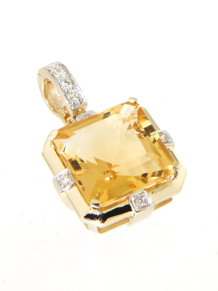 9ct yellow gold emerald cut citrine & diamond set enhancer pendant