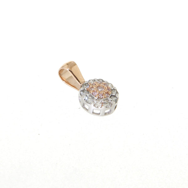 9ct rose gold pink & white diamond cluster pendant